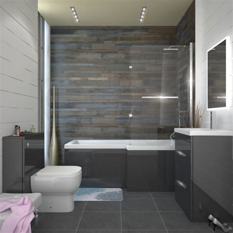 Bath And Shower In Small Bathroom Patello Grey Shower Bath Suite Buy At Bathroom City