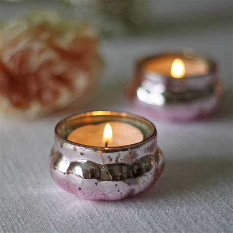 pink glass tea light holders mini mercury pink tea light holder by the wedding of my