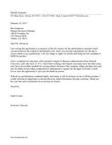 Administrative Aide Cover Letter by Cover Letter Exles For Administrative Assistant My Document