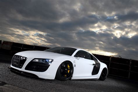 white audi r8 liberty walk dresses up first gen audi r8 carscoops com
