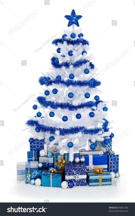 blue and white decorated tree artificial white tree on white stock photo