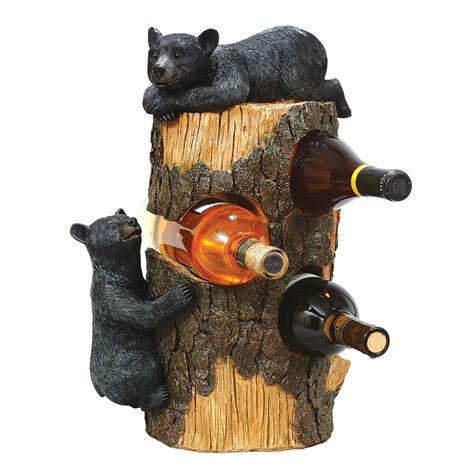 black bear wine bottle holder western rustic home decor ebay black bear three bottle wine holder clearance