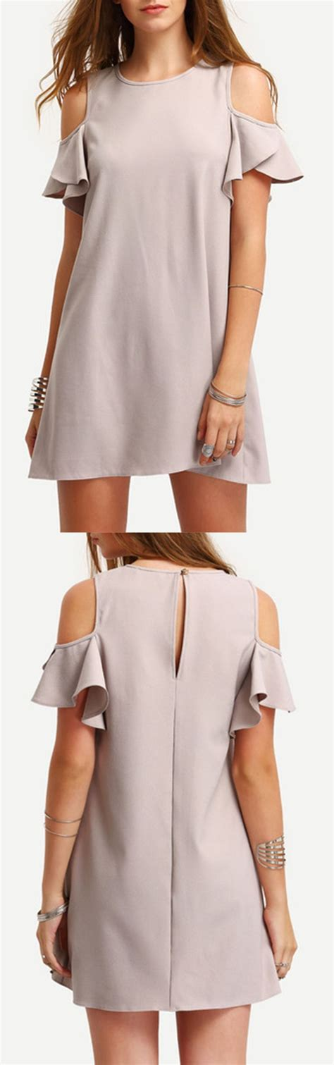 Gray Flounced Sleeved Strapless Dress 25 best ideas about cold shoulder dress on cold shoulder white boho dress and