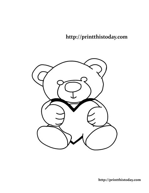 teddy bear holding a heart coloring page teddy bear holding heart coloring pages