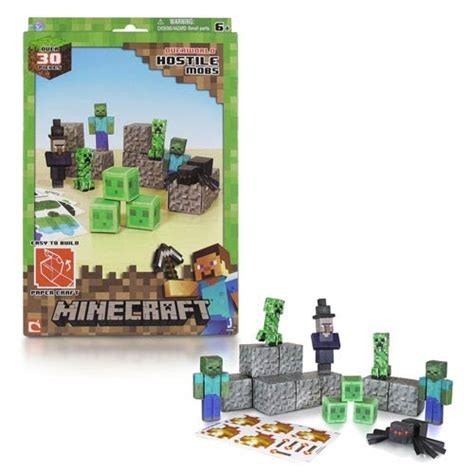 Minecraft Papercraft Hostile Mobs Set - minecraft papercraft hostile mobs 30 set jazwares