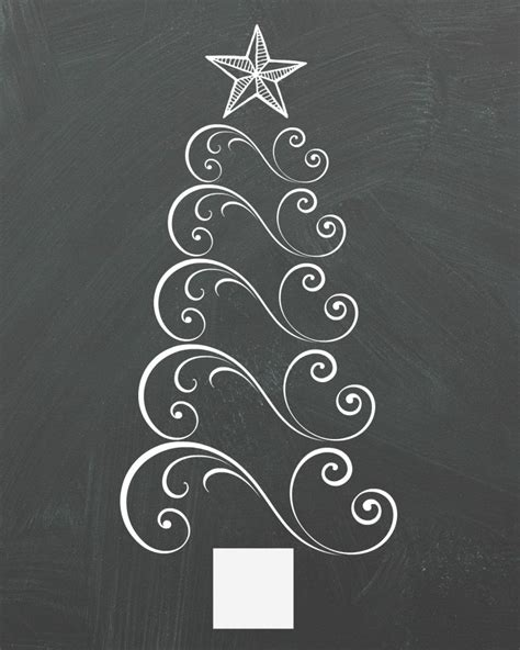 swirly christmas tree chalkboard printable organize and