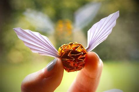 Origami Golden Snitch - golden snitch origami harry potter harry potter