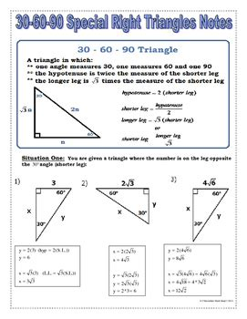 Special Right Triangles Worksheet 30 60 90 Answers by Right Triangles 30 60 90 Special Right Triangles Notes