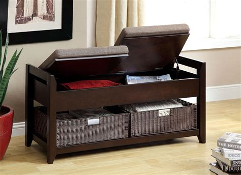 espresso storage bench muri espresso finish 2 cushion storage bench faux rattan baskets storage bench with
