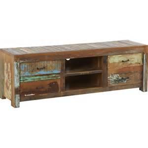 meuble tv en bois recycl 233 1 porte 2 tiroirs 2 niches