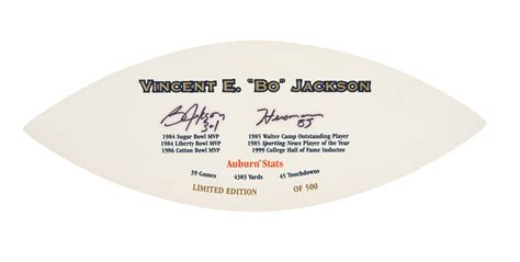 lot detail bo jackson signed and inscribed football