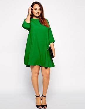 swing dress with tights enlarge asos curve seamed swing dress with long sleeve so