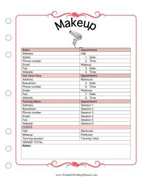 the wedding planner makeup template covers appointment