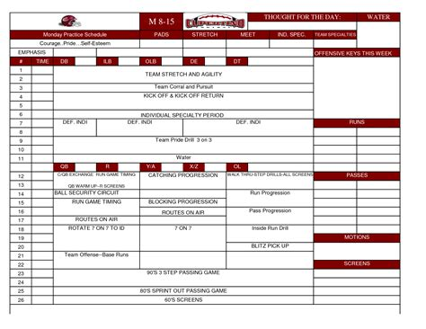youth football practice plans templates football practice schedule template 2014freerun5