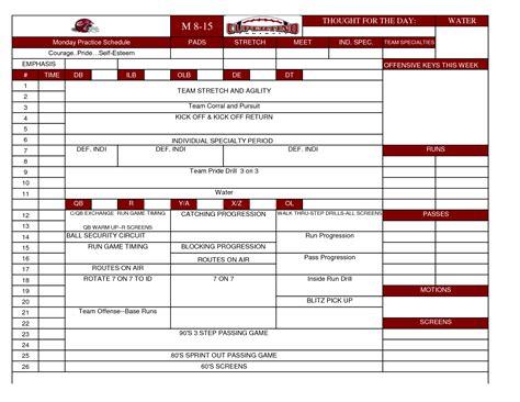 football practice plan template football practice schedule template 2014freerun5