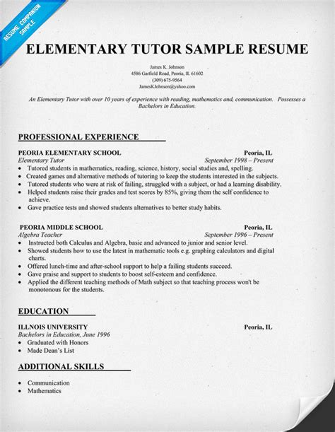 Sample resume for college teaching job business research