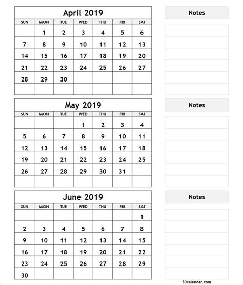 month april  june  calendar  monthly
