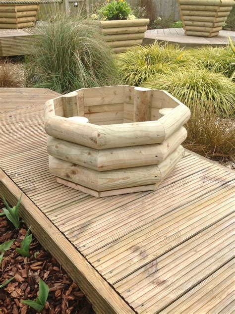 Rustic Planters by Rustic Half Log Hexagonal Planter