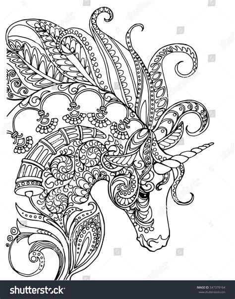 unicorn coloring book zentangle patterned unicorn doodle page for