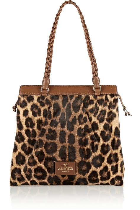 Valentino Animal Print Handbag by Valentino Animal Leathertrimmed Leopardprint Calf Hair