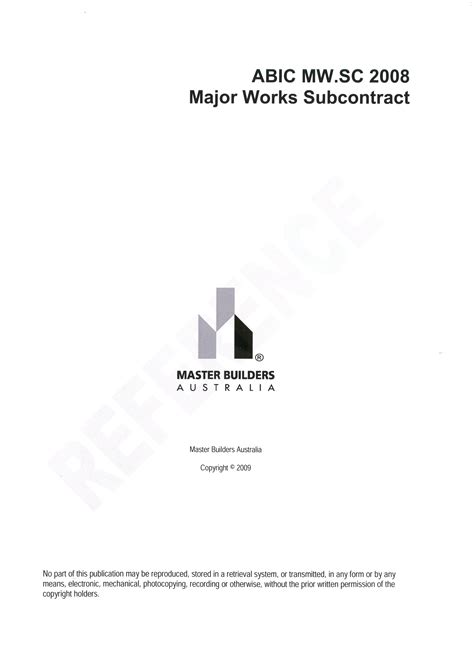 Plu Mba Cost by Abic Mw Sc 2008 Companion Subcontract To Mw 2008 Set Of