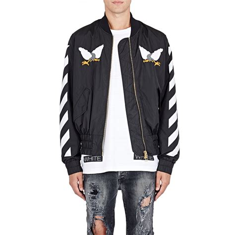 Jaket Sweater White Basic Stripe Logo Offwhite white c o virgil abloh eagle embroidered bomber jacket