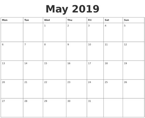 blank calendar template starting with monday may 2019 blank calendar template