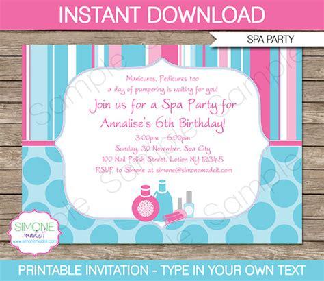 Spa Invitation Template Spa Birthday Party Invitations Decorations