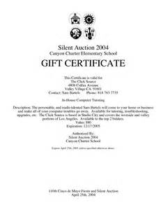auction certificate template best photos of auction gift certificate template silent