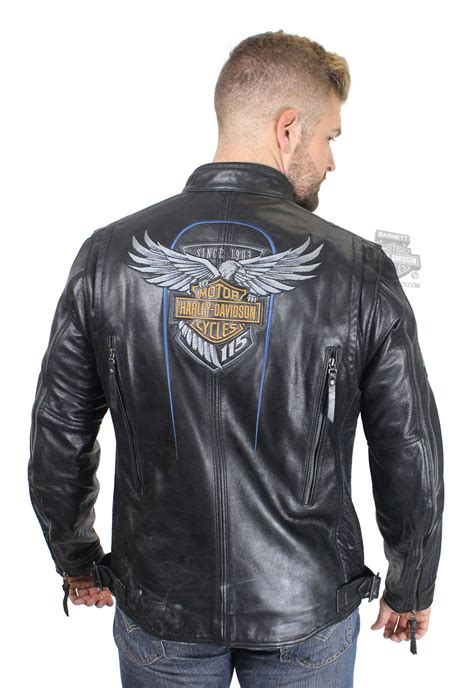 Id Leather Jacket Black harley davidson 174 mens 115th anniversary with reflective