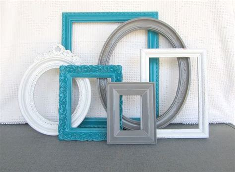 grey bedroom with teal accents teal grey white vintage picture frames set of 6 upcycled frames with glass modern