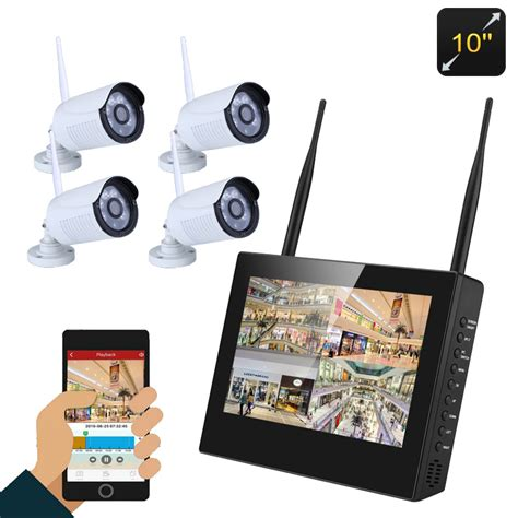 Nvr Kit 4 Channel 4 Ch 4ch 13mp Wireless Cctv 4 channel nvr kit with 4 hd waterproof security cameras