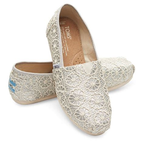 toms silver crochet glitter s classic slip on shoes