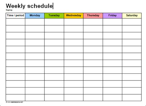 thesis schedule template printable paper weekly schedule template word