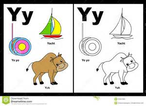 Alphabet letter y with colorful cliparts and coloring graphics