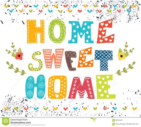 home sweet home poster design with decorative text stock