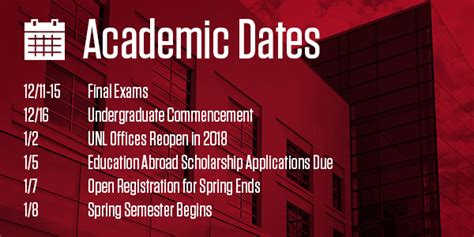 Unl Mba Application Deadline by Academic Dates Announce Of Nebraska Lincoln