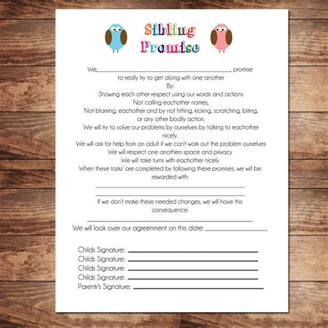 children s contract template printable sibling contract behavioral chart chore chart