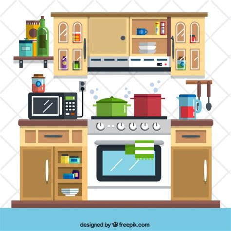 kitchen cartoon flat kitchen illustration vector free download