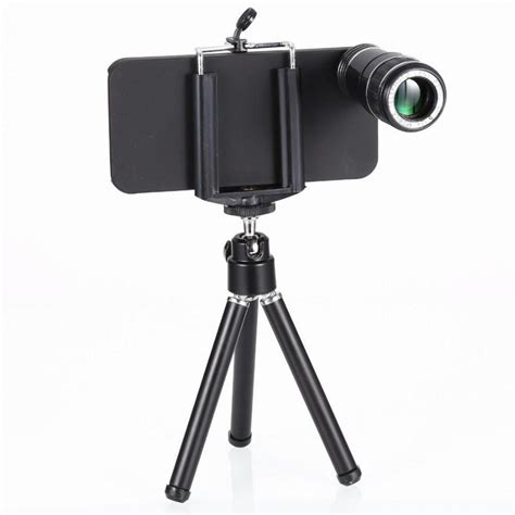 Mobile Telephonetelezoom Lens 12x Tripod Dan Holder 12x zoom f2 0 optical plastic telescope telephoto mobile phone lens kit tripod holder