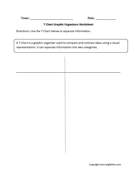 worksheets graphic organizers t chart worksheet resultinfos