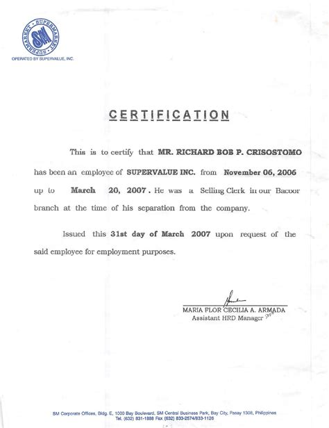 request letter for certification of separation certification letter sle employment best free
