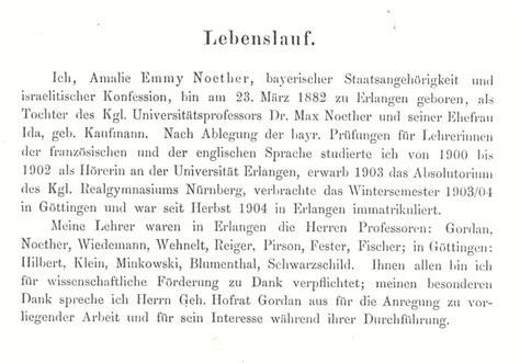 Lebenslauf Aufsatzform Pdf 1919 Habilitationslebenslauf Emmy Noether Verfasst Im Mai 1919 Abschrift
