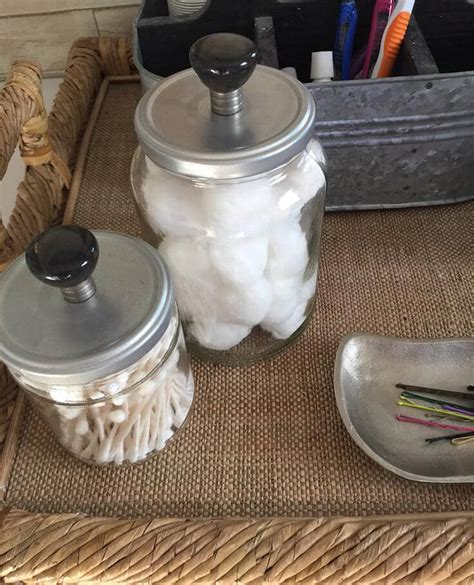 diy bathroom storage jars an easy upcycled decor idea