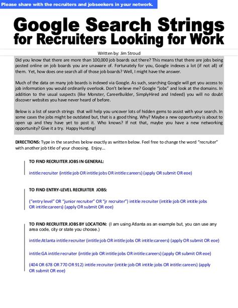 Search For Looking For Search Strings For Recruiters Looking For Work