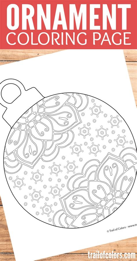 Christmas Ornament Coloring Page Trail Of Colors Ornament Coloring Pages For Adults