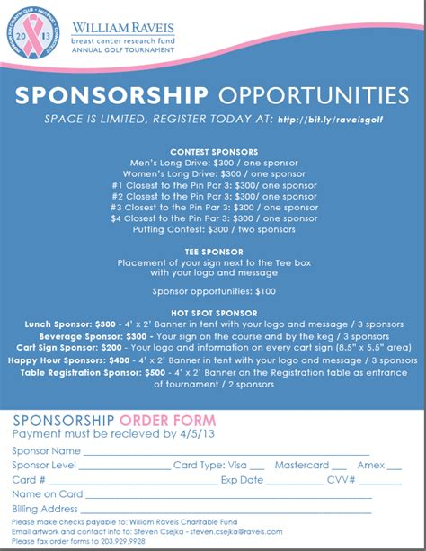 Sponsorship Letter Golf Convention Spotlight William Raveis Breast Cancer Research Fund Golf Tournament William