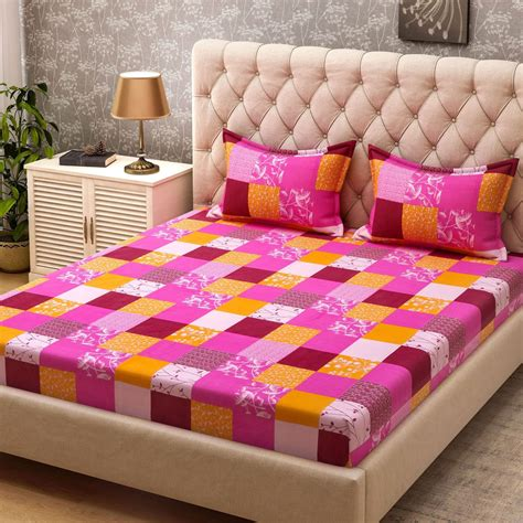 buying bed sheets bombay dyeing cotton checkered double bedsheet buy