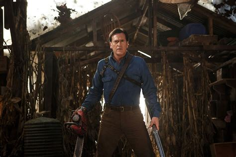 evil dead film cell bruce cbell on lee majors and man cleavage in ash vs