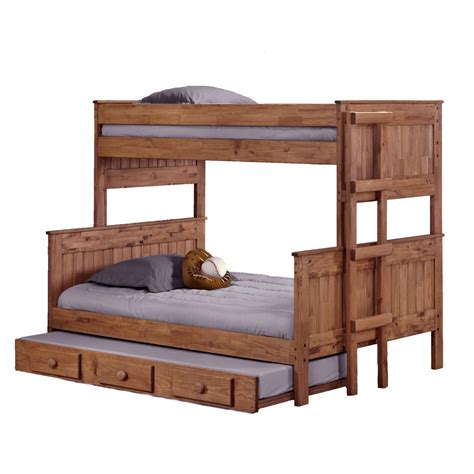 Wooden Bunk Bed With Trundle Light Brown Wooden Bunk Bed Plus Trundle On The Bottom Combined With White Bedding Sheet Also